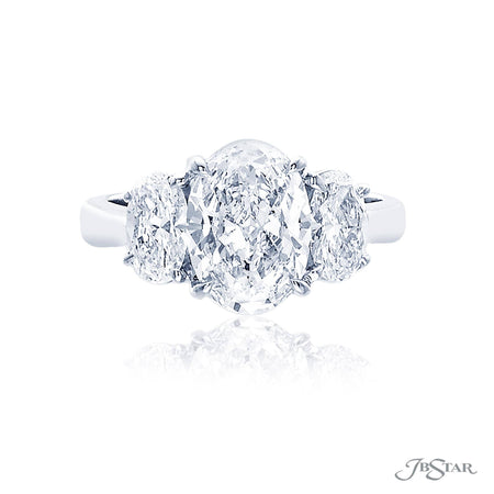 2.02 ct Platinum Oval Diamond Engagement Ring embraced by Oval diamonds  | 4587-120