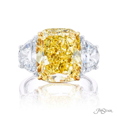 10.02 ct Platinum Fancy Yellow Diamond Engagement Ring