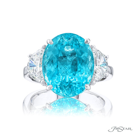4664-246 | Paraiba & Diamond Ring 7.21 ct. Certified Oval & Half-Moon Front View