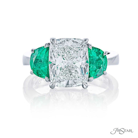 3.44ct Platinum Cushion Cut Diamond Engagement Ring with Half Moon Emeralds by JB Star | 4664-250