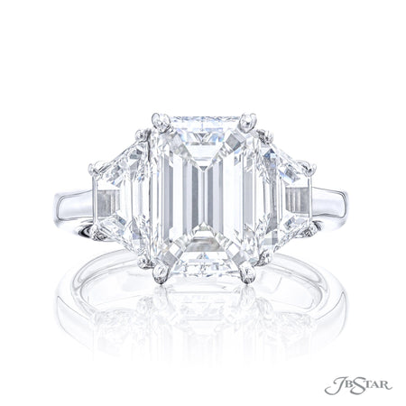 4675-163 | Diamond Engagement Ring Emerald Cut 3.71 ct. GIA certified Front View