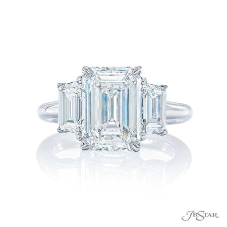 3.30 ct. Platinum Emerald Cut Diamond Engagement Ring with 2 trapezoid diamonds | 4675-166