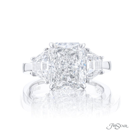 4675-183 | Diamond Engagement Ring 3.82 ct. Radiant Cut GIA certified Front View
