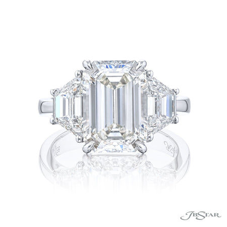 4675-186 | Diamond Engagement Ring 5.11 ct. Emerald-Cut & Trapezoid Front View