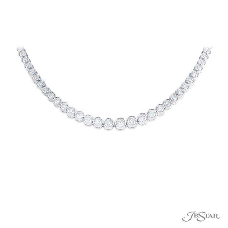 Gorgeous diamond necklace featuring 87 round stones in a bezel-setting. Handcrafted in pure platinum. [details] Center Stone(s) SHAPE TYPE WEIGHT Round Diamond 15.89 ct. [enddetails] | JB Star 4688-017 Necklaces