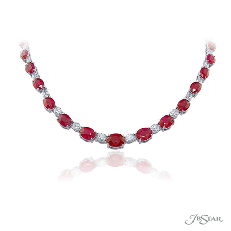 Dazzling ruby and diamond necklace featuring 49.23 ctw. Burmese oval rubies alternating between oval diamonds. Handcrafted in pure platinum. [details] Stone Information SHAPE TYPE WEIGHT Oval Ruby 49.23 ctw. Oval Diamond 9.73 ctw. [enddetails] | JB Star 4724-001 Necklaces