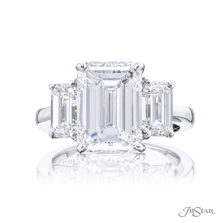 4783-009 | Diamond Engagement Ring 5.03 ct. Emerald Cut GIA certified Front View