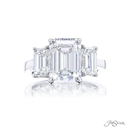 4783-095 | Diamond Engagement Ring 5.31 ct Emerald Cut GIA certified Front View