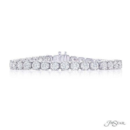 Gorgeous diamond bracelet featuring 33 round diamonds in a shared prong setting. Handcrafted in pure platinum. [details] Stone Information SHAPE TYPE WEIGHT Round Diamond 13.00 ctw. [enddetails] | JB Star 4865-002 Bracelets