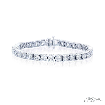 Exquisite round diamond bracelet featuring 35 round diamonds in a platinum prong setting. [details] Stone Information SHAPE TYPE WEIGHT Round Diamond 13.55 ct. [enddetails] | JB Star 4895-002 Bracelets