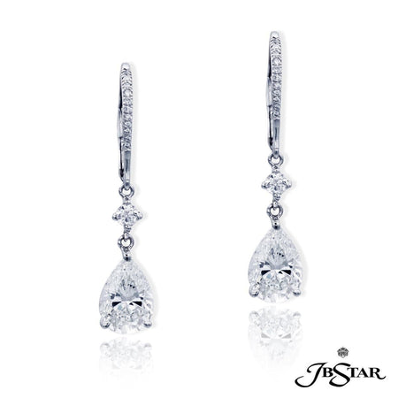 Dazzling diamond drop earrings featuring 2.50 ct. GIA certified pear-shape diamond centers hung by round diamonds, handcrafted in a platinum setting. [details] Center Stone(s) SHAPE TYPE WEIGHT COLOR CLARITY Pear Pear Diamond Diamond 1.20 ct. 1.30 ct. H G SI1 SI2 Stone Information SHAPE TYPE WEIGHT Round Diamond 0.20 ctw. [enddetails] | JB Star 4905-041 Earrings