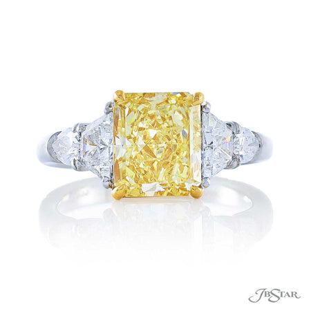 3.01 ct Radiant Cut Fancy Yellow Diamond Engagement Ring in Platinum and 18KY Gold with Side Shield Diamonds 4912-077