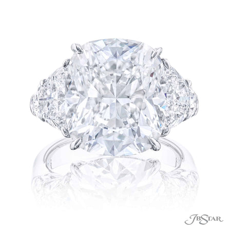 10.02 ct Cushion Cut Diamond Engagement Ring in Platinum with half moon and shield diamond sides 4912-113