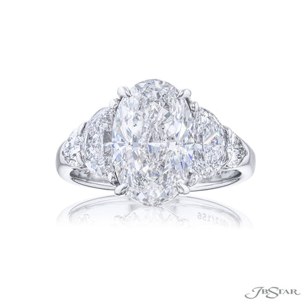 Platinum 3.50 ct Diamond Half Moon Shield Engagement Ring with half moon and shield side diamonds 4912-156
