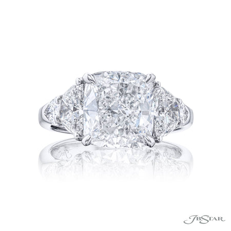 Platinum 3.51 ct Cushion Cut Diamond Engagement Ring  with half moon and shield diamond sides 4912-159