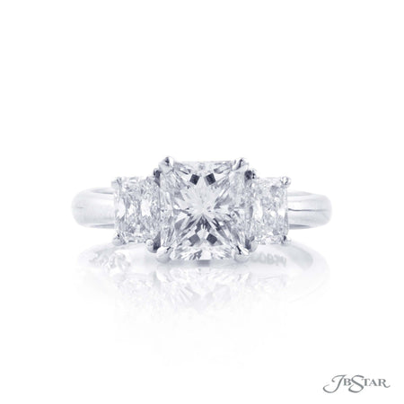 Platinum 1.62 ct Radiant Cut Diamond Engagement Ring with Radiant Cut Diamond Sides 4917-194