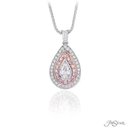 Gorgeous diamond pendant featuring a 0.54 ct. certified pear shape diamond center surrounded by beautiful round pink and white diamonds. Handcrafted in pure platinum and 18KP pink gold. [details] Center Stone(s) SHAPE TYPE WEIGHT COLOR CLARITY Pear Diamond 0.54 ct. E VS2 Note: EGL Stone Information SHAPE TYPE WEIGHT Round Round Diamond Diamond 0.30 ctw. 0.26 ctw. [enddetails] | JB Star 4934-005 Pendants