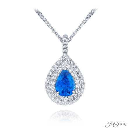 Gorgeous sapphire and diamond pendant featuring a 1.90 ct. certified