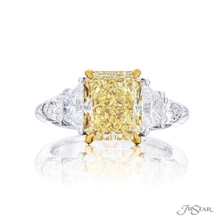 3.55 ct Yellow Radiant Cut Diamond Engagement Ring, Platinum and 18K Yellow Gold, Trapezoid and Shield Diamond Sides | 4954-003