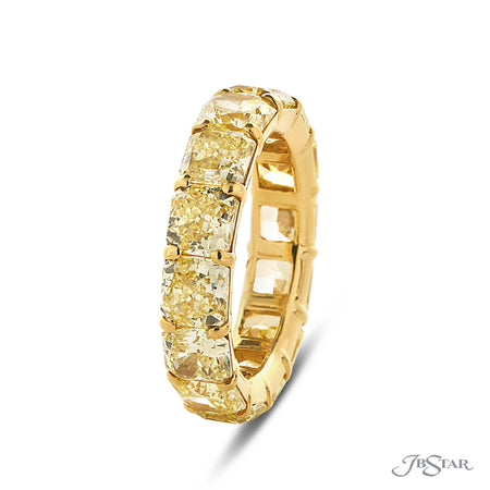 Fancy Yellow Radiant Cut Diamond Eternity Band 18KY Gold, 0206-037 side view