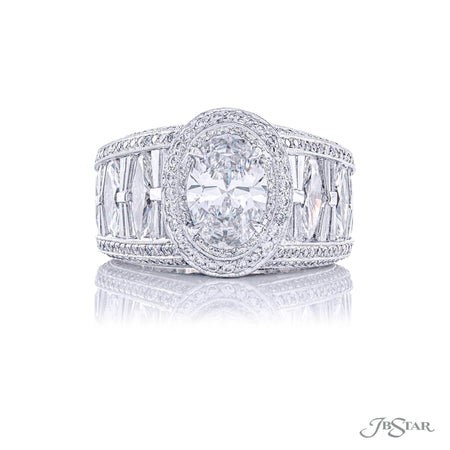 Platinum 1.51 ct Oval Diamond Engagement Ring with Marquise, Baguette Diamond and micro pave embellishments  4997-001