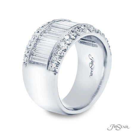 Gorgeous diamond wedding band featuring a center channel of straight baguette diamonds embraced between two rows round diamond pave. Handcrafted in pure platinum. [details] Stone Information SHAPE TYPE WEIGHT Straight Baguette Diamond 1.71 ctw. Round Diamond 0.60 ctw. [enddetails] | JB Star 5040-004 Anniversary & Wedding