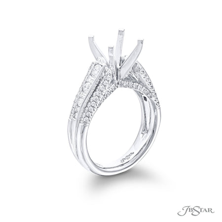 5046-002-Semi Mounting Baguette and Round Diamonds Channel Setting Side View