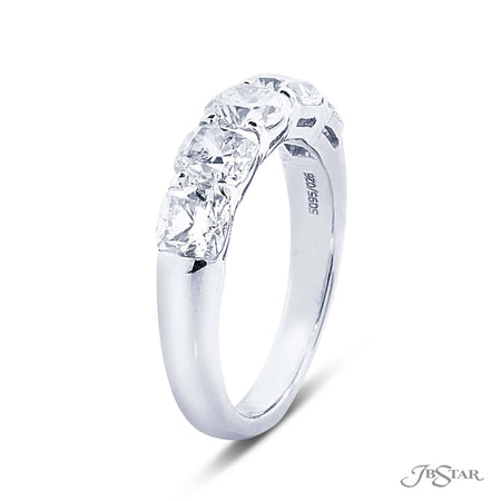 Gorgeous diamond wedding band featuring 5 graduating cushion cut diamonds in a shared prong setting. Handcrafted in pure platinum. [details] Stone Information SHAPE TYPE WEIGHT Cushion Diamond 2.26 ctw. [enddetails] | JB Star 5095-026 Anniversary & Wedding