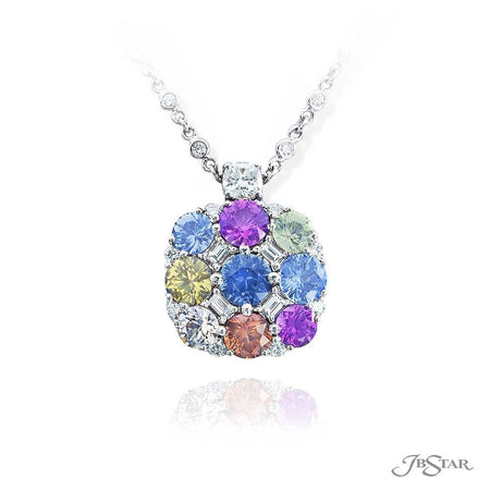 Magnificent sapphire and diamond pendant featuring 9