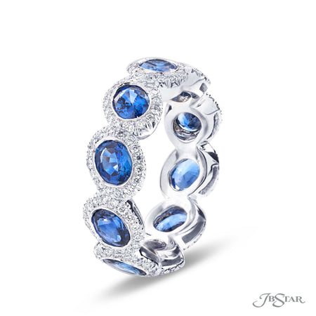 Oval Blue Sapphire and Pave Diamond Eternity Ring | 5106-001 JB STAR Side View