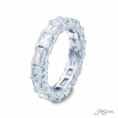Emerald and Square Cut Diamond Eternity Band in Platinum | 5109-001 Side View