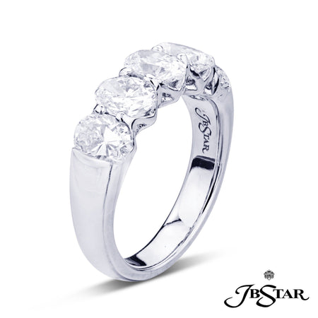 Dazzling diamond wedding band featuring 5 oval diamonds in a shared prong setting, handcrafted in platinum. [details] Stone Information SHAPE TYPE WEIGHT Oval Diamond 2.75 ctw. [enddetails] | JB Star 5115-001 Anniversary & Wedding