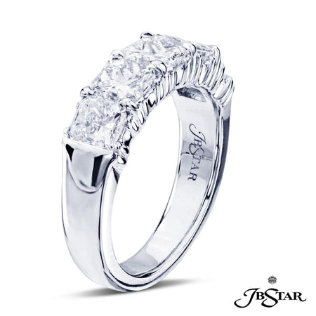 Stunning diamond wedding band featuring 5 perfectly matched radiant-cut diamonds in a shared prong setting, handcrafted in platinum. [details] Stone Information SHAPE TYPE WEIGHT Radiant Diamond 2.76 ctw. [enddetails] | JB Star 5126-001 Anniversary & Wedding