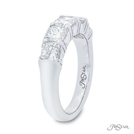 Stunning diamond wedding band featuring 5 perfectly matched radiant-cut diamonds in a shared prong setting. Handcrafted in pure platinum. [details] Stone Information SHAPE TYPE WEIGHT Radiant Diamond 2.24 ctw. [enddetails] | JB Star 5128-004 Anniversary & Wedding