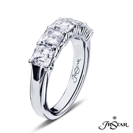 Dazzling diamond wedding band featuring 5 beautifully matched square emerald cut diamonds in a shared prong setting. Handcrafted in platinum. [details] Stone Information SHAPE TYPE WEIGHT Square Emerald Diamond 2.44 ctw. [enddetails] | JB Star 5130-001 Anniversary & Wedding