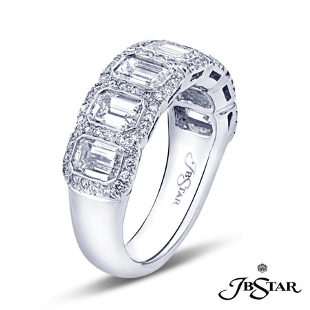Gorgeous diamond wedding band featuring 7 bezel-set emerald cut diamonds, handcrafted in platinum and edged in micro pave. [details] Stone Information SHAPE TYPE WEIGHT Emerald Round Diamond Diamond 2.25 ctw. 0.33 ctw. [enddetails] | JB Star 5133-001 Anniversary & Wedding