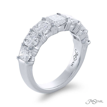 Stunning diamond wedding band featuring 7 perfectly matched radiant-cut diamonds in a shared prong setting. Handcrafted in pure platinum. [details] Stone Information SHAPE TYPE WEIGHT Radiant Diamond 2.78 ctw. [enddetails] | JB Star 5146-001 Anniversary & Wedding
