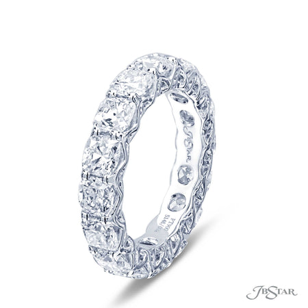5.12 ctw. Cushion Cut Diamond Eternity Ring in Platinum | 5148-002 Side View
