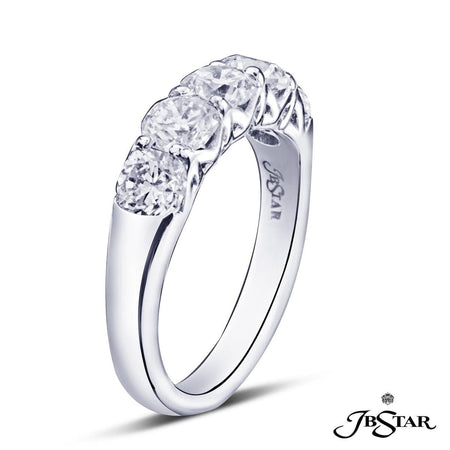 Stunning diamond wedding band featuring 5 perfectly matched cushion cut diamonds in a shared prong setting. Handcrafted in platinum. [details] Stone Information SHAPE TYPE WEIGHT Cushion Diamond 2.10 ctw. [enddetails] | JB Star 5149-001 Anniversary & Wedding