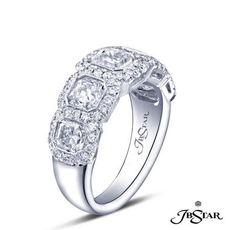 Lovely diamond wedding band featuring 5 radiant cut bezel-set diamonds edged in a micro pave setting. Handcrafted in platinum. [details] Stone Information SHAPE TYPE WEIGHT Radiant Round Diamond Diamond 2.59 ctw. 0.51 ctw. [enddetails] | JB Star 5154-001 Anniversary & Wedding