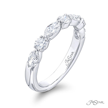 5162-031 | Diamond Wedding Band Marquise & Round East to West Setting Side View