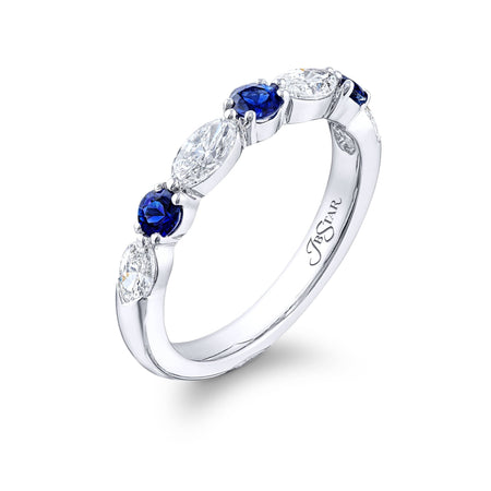 5162-036 | Sapphire & Diamond Wedding Band Round & Marquise-Cut Side View