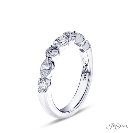 Beautiful diamond band featuring marquise and round diamonds in a stunning alternating design. Handcrafted in platinum and shared prong setting. [details] Stone Information SHAPE TYPE WEIGHT Marquise Round Diamond Diamond 0.54 ctw. 0.43 ctw. [enddetails] | JB Star 5168-002 Anniversary & Wedding