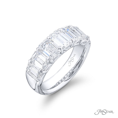 5178-009 | Diamond Wedding Band 4.22 ctw. Emerald-Cut Shared Prong Side View