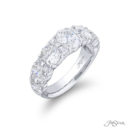 Stunning diamond wedding band featuring oval and tapered baguette diamonds in a beautiful shared prong design. Handcrafted in platinum. [details] Stone Information SHAPE TYPE WEIGHT Oval Tapered Baguette Diamond Diamond 2.80 ctw. 0.45 ctw. [enddetails] | JB Star 5184-001 Anniversary & Wedding
