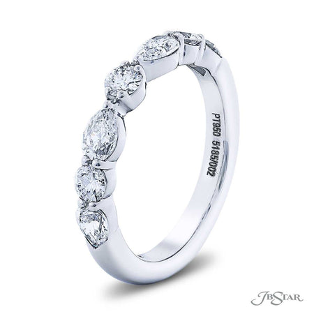 Gorgeous diamond wedding band featuring pear shape and round diamonds in an alternating design. Handcrafted in pure platinum. Matching diamond semi-mount 5185-001. [details] Stone Information SHAPE TYPE WEIGHT Pear Diamond 0.64 ctw. Round Diamond 0.33 ctw. [enddetails] | JB Star 5185-002 Anniversary & Wedding