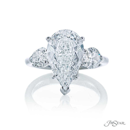 Platinum 3.17 ct. Pear Shaped Diamond Engagement Ring with Oval Diamond Sides 5186-005