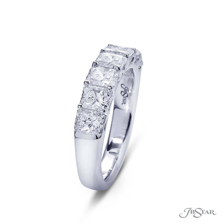 Gorgeous diamond wedding band featuring 7 radiant cut diamonds in a shared prong setting. Handcrafted in pure platinum. [details] Stone Information SHAPE TYPE WEIGHT Radiant Diamond 2.20 ctw. [enddetails] | JB Star 5187-001 Anniversary & Wedding