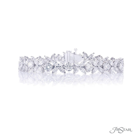 Gorgeous diamond bracelet featuring marquise and round diamonds in a stunning design. Handcrafted in pure platinum. [details] Stone Information SHAPE TYPE WEIGHT Marquise Diamond 6.40 ctw. Round Diamond 5.80 ctw. [enddetails] | JB Star 5190-001 Bracelets