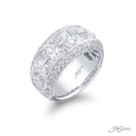 5193-003 | Diamond Wedding Band Oval & Tapered Baguette 4.93 ctw. Side View